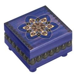 Polish Wooden Box - Blue Kaleidoscope Secret Lock