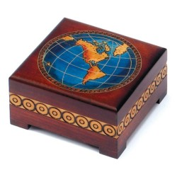 Polish Wooden Box - World Map