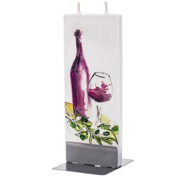 Flat Candle - Wine Bottle and Glass