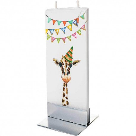 Flat Candle - Happy Birthday Giraffe