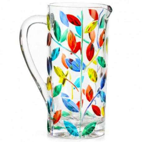 Italian Glass Pitcher - Tree of Life Multicolor