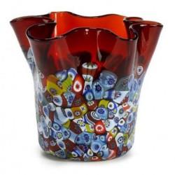 Italian Millefiori Handkerchief Vase - Red