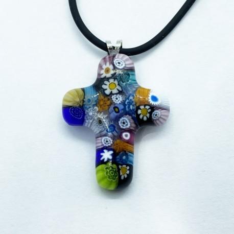 Italian Millefiori Cross Pendant