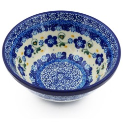 """Polish Pottery Bowl - 5.5"""" - Forget-Me-Not"""