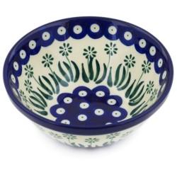 """Polish Pottery Bowl - 5.5"""" - Daisy Peacock"""