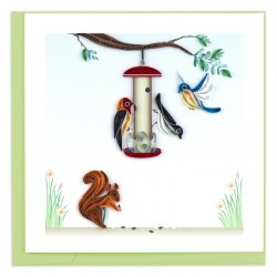 Quilling Card - Bird Feeder with Squirrel