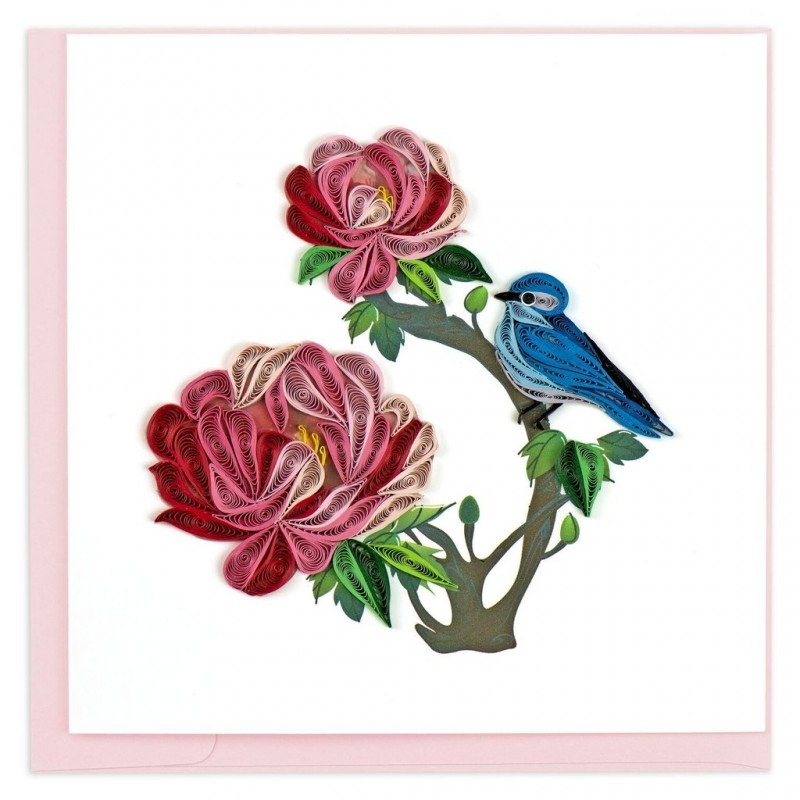 quilling card  peonies with bluebird
