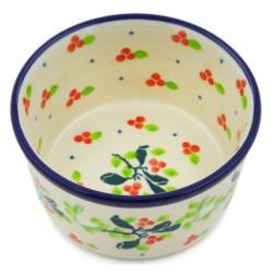 """Polish Pottery Bowl - 4"""" - Holly Berry"""