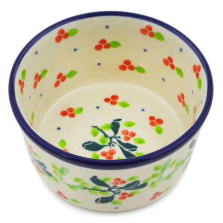 "Polish Pottery Bowl - 4"" - Holly Berry"