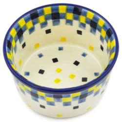 "Polish Pottery Bowl - 4"" - Checkerboard"