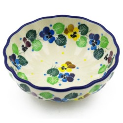 "Scalloped Bowl - 5"" - Colorful Pansies"