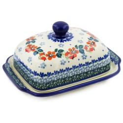 Polish Pottery Euro Style Butter or Cheese Dish - Cherry Blossoms
