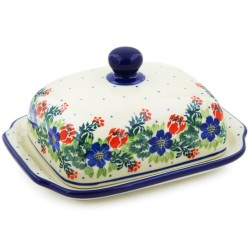 Polish Pottery Euro Style Butter or Cheese Dish - Garden Party