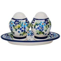 Polish Pottery Salt and Pepper Set - Blue Flowers with Green Leaves