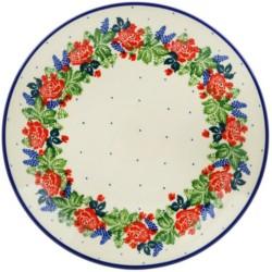 "Polish Pottery Plate - 10"" - Rose Garden"