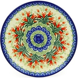 "Polish Pottery Plate - 8"" - Crimson Bells"