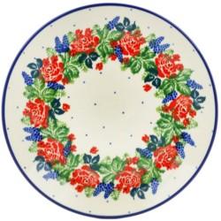 "Polish Pottery Plate - 8"" - Rose Garden"