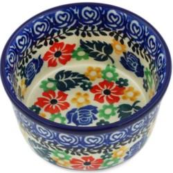 """Polish Pottery Bowl - 4"""" - Colorful Bouquet"""