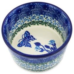 """Polish Pottery Bowl - 4"""" - Blue Butterfly"""
