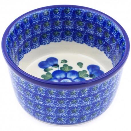"Polish Pottery Bowl - 4"" - Blue Poppy"