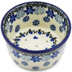 "Polish Pottery Bowl - 4"" - Blue Daisies"