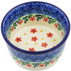 "Polish Pottery Bowl - 4"" - Red Splendor"