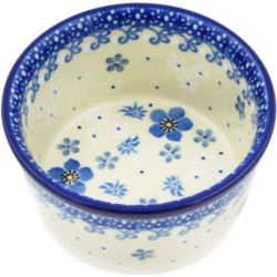"Polish Pottery Bowl - 4"" - White Flowers"