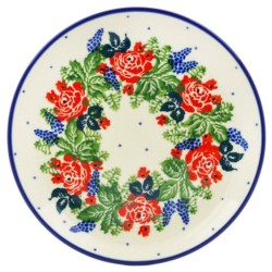 "Polish Pottery Plate - 6"" - Rose Garden"