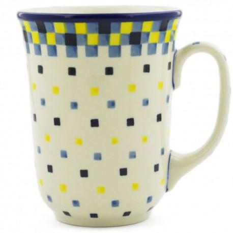 Polish Pottery Bistro Mug - 16 oz - Checkerboard