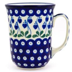 Polish Pottery Bistro Mug - 16 oz - Bleeding Heart