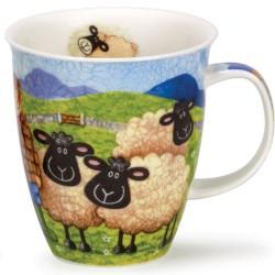 Fine Bone China Mug - Sheepies with Shepherd