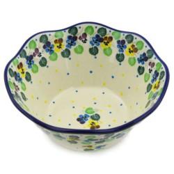 "Wavy Bowl - 8"" - Colorful Pansies"