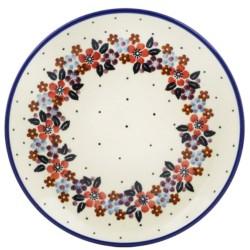 "Polish Pottery Plate - 6"" - Burgundy Wreath"