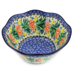 "Polish Pottery Wavy Bowl - 8"" - Fanfare - Unikat"