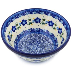"""Polish Pottery Bowl - 6.5"""" - Forget-Me-Not"""