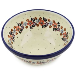 "Polish Pottery Bowl - 6.5"" - Burgundy Wreath"