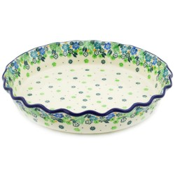 """Polish Pottery Fluted Pie Baker - 10"""" - Tropical"""