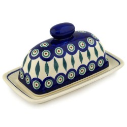 Polish Pottery American Style Butter Dish - Peacock