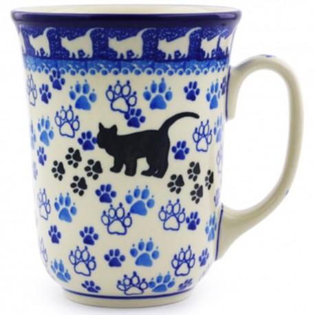 Polish Pottery Bistro Mug - 16 oz - Black Cat