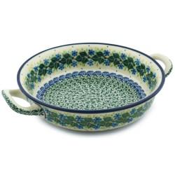 "Polish Pottery Round Baker - 8"" - Ivy Trail"