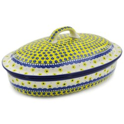 "Polish Pottery Oval Baker with Lid - 14"" - Sunshine"