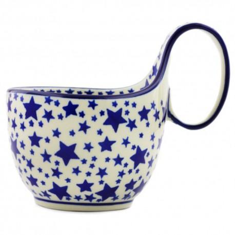 "Polish Pottery Bowl - 4"" with Handle - Starlight"