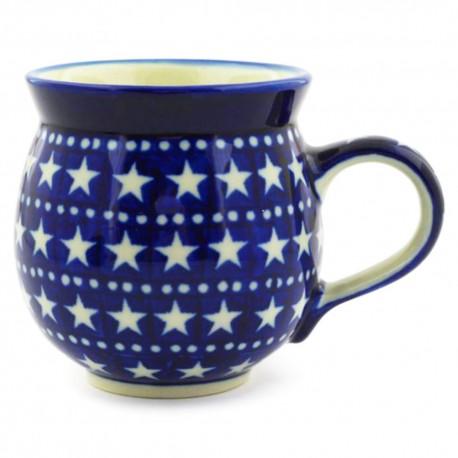 Polish Pottery Bubble Mug - 12 oz - Midnight Stars