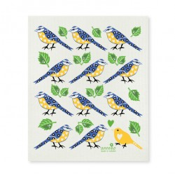 Swedish Dishcloth Blue and Yellow Birds