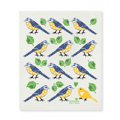 Swedish Dishcloth Blue and Yellow Birds