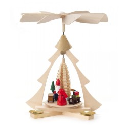 German Christmas Pyramid - One Level - Santa with Gifts