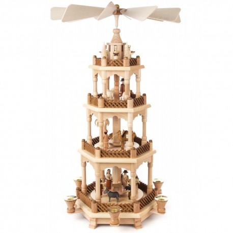German Christmas Pyramid - Four-Level - Nativity