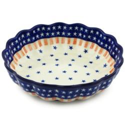 "Polish Pottery Scalloped Bowl - 8"" - Stars and Stripes"