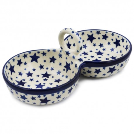 Polish Pottery Double Serving Bowl - Starlight