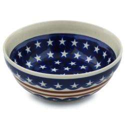 """Polish Pottery Bowl - 7"""" - Americana"""